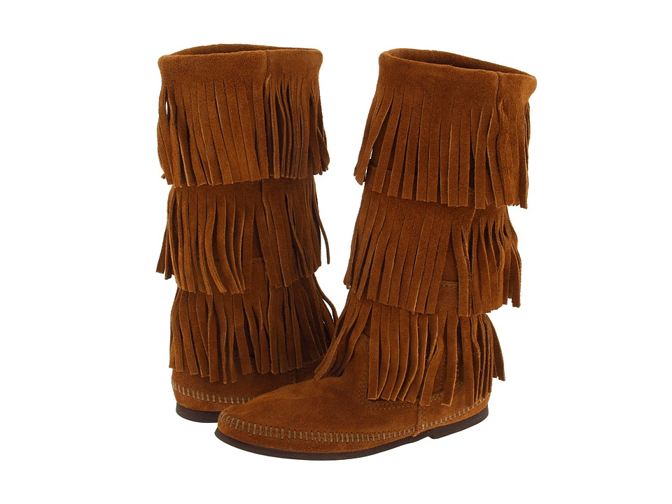 Retro Boots, Granny Boots, 70s Boots Minnetonka - Calf Hi 3-Layer Fringe Boot Brown Suede Womens Pull-on Boots $97.95 AT vintagedancer.com