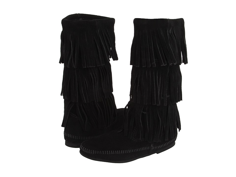 Minnetonka Calf Hi 3-Layer Fringe Boot (Black Suede) Women's Pull-on Boots
