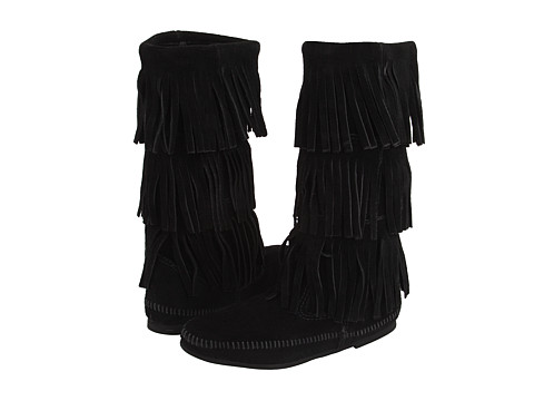 Minnetonka Calf Hi 3-Layer Fringe Boot