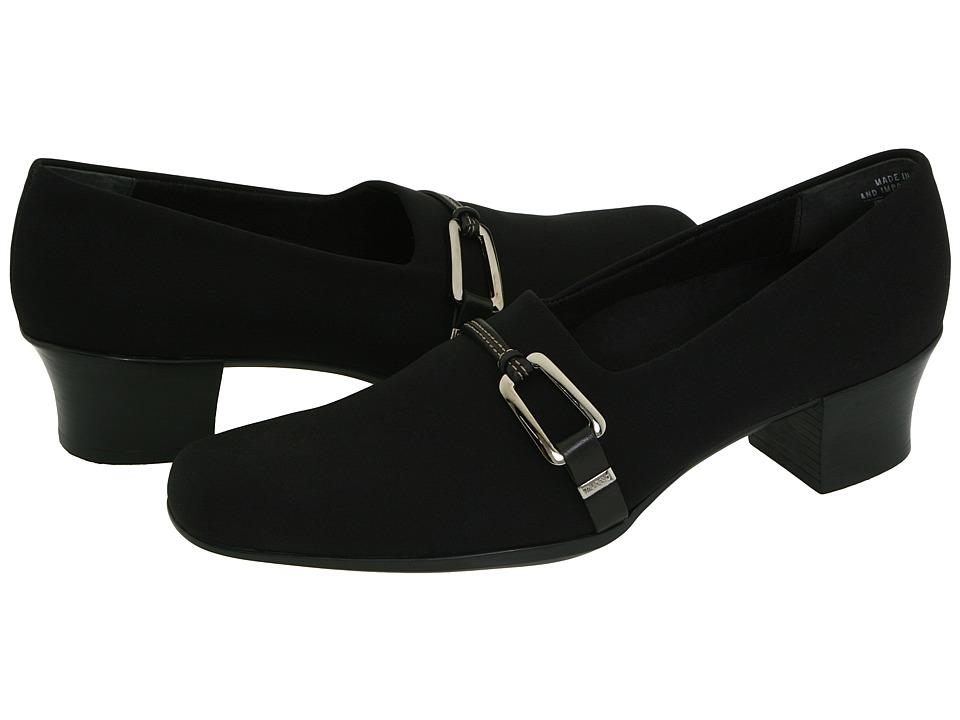 MUNRO Cindi (Black Stretch Fabric) Women's Slip on  Shoes