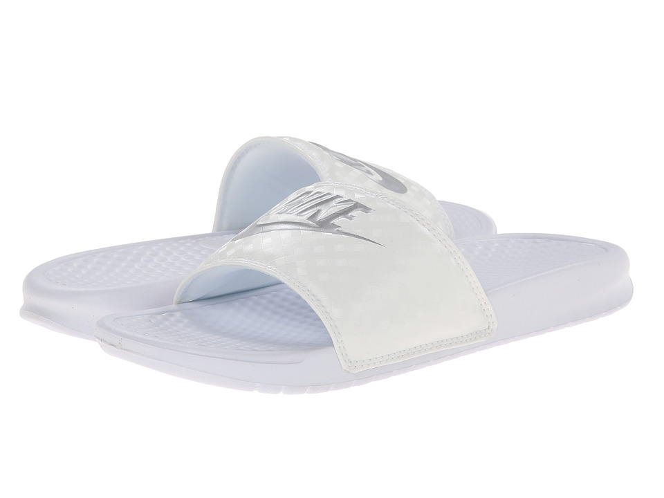 Nike Benassi JDI Slide (White-Metallic Silver) Women