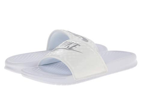 Nike Benassi JDI Slide - White-Metallic Silver