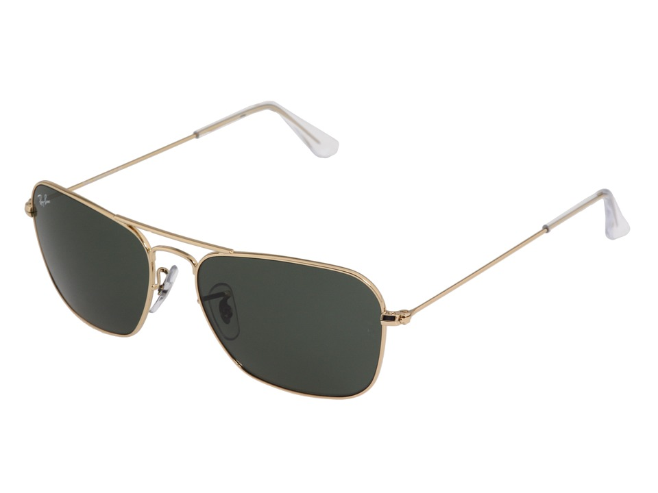Ray-Ban - RB3136 Caravan 55mm (5515 001 Gold W/ Green G-15xlt) Fashion Sunglasses