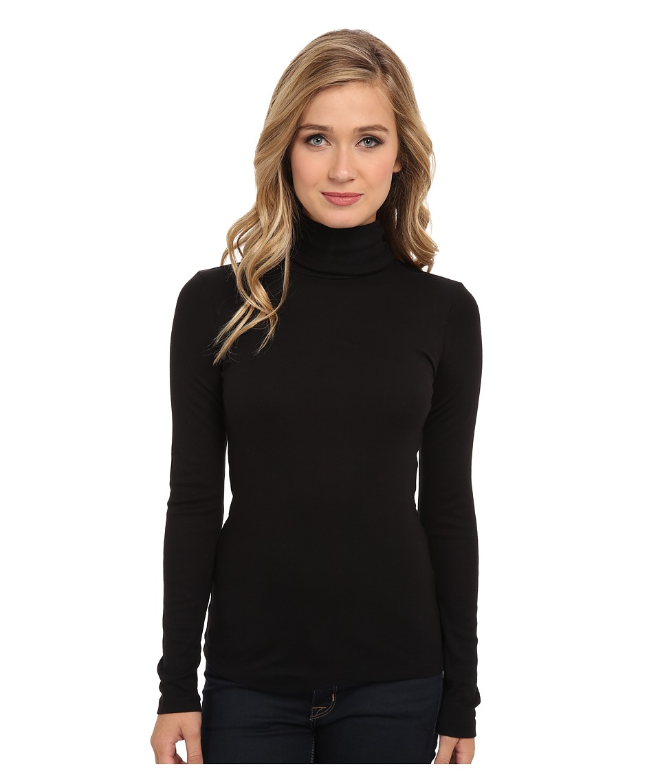 Splendid 1x1 Long Sleeve Turtleneck (Black) Women
