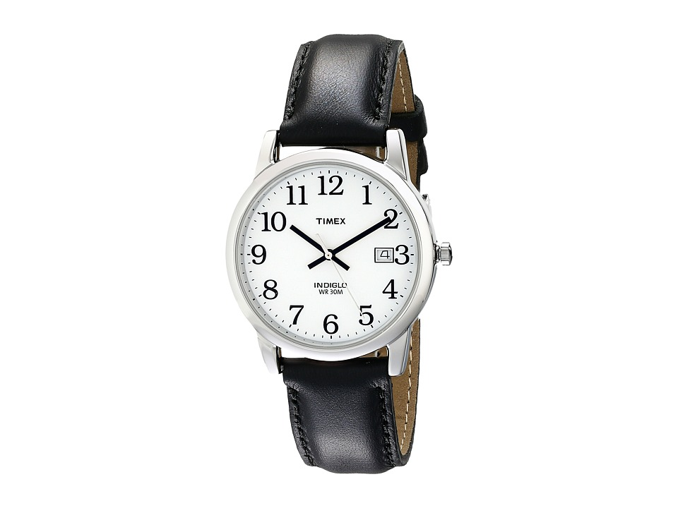 Timex Core Easy Reader (Black Leather Strap/White Dial) W...