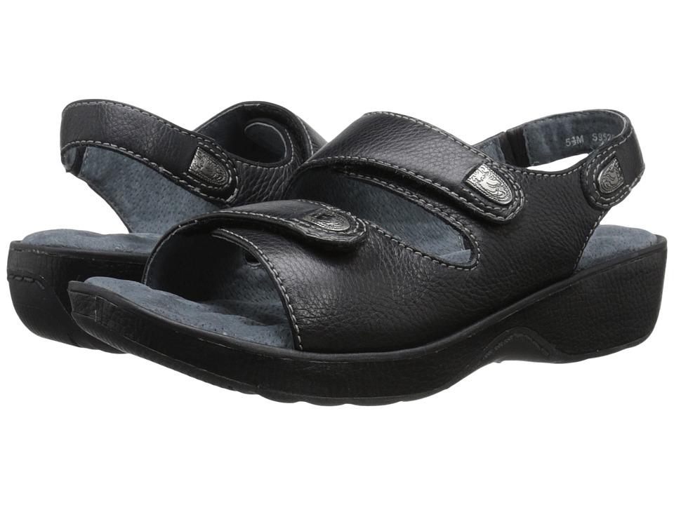SoftWalk Bolivia Black Tumbled Glove Leather Womens Sandals