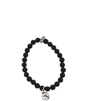 King Baby Studio - Black Onyx Bead and Silver MB Cross Button Bracelet