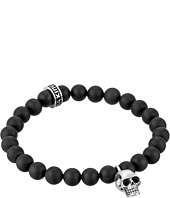 King Baby Studio - Black Onyx Bead and Silver Skull Bracelet