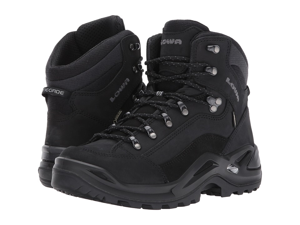 Lowa Renegade GTX(r) Mid (Black/Black) Men's Hiking Boots