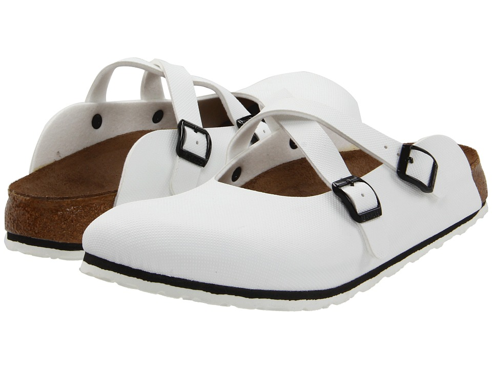 birkenstock womens white ivory dorian clogs sandals shoes