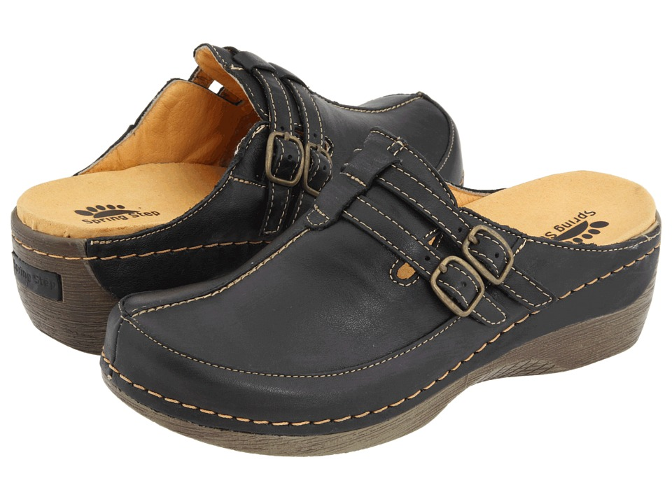 Spring Step - Happy (Black Leather) Womens Clog/Mule Shoes