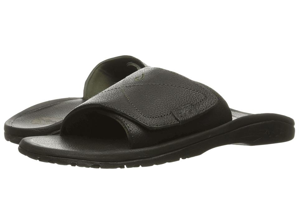 OluKai - Ohana Leather Slide (Black/Black) Men