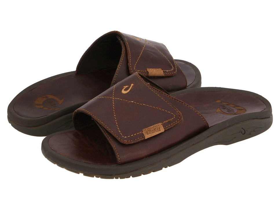 OluKai - Ohana Leather Slide (Dark Java/Dark Java) Men
