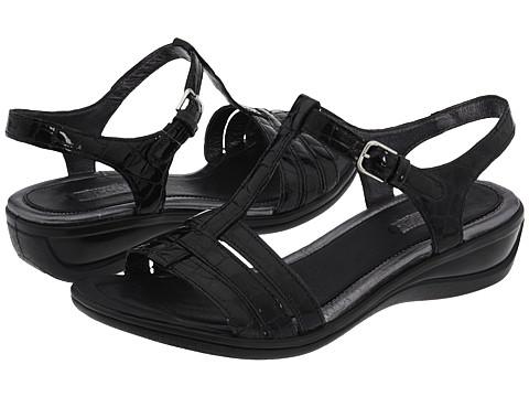 ECCO - Sensata Sandal (Black Croco Patent) - Footwear