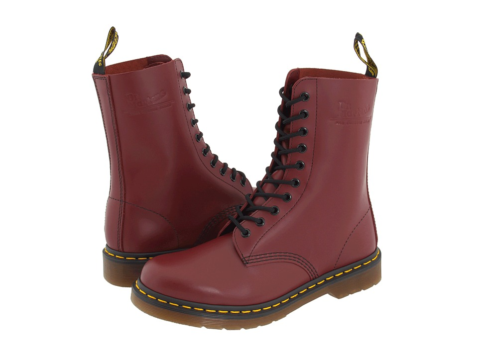 Dr. Martens - 1490 (Cherry Red Smooth) Lace-up Boots