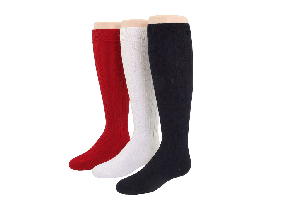 Jefferies Socks - 6-Pack Acrylic Cable Knee High (Toddler/Little Kid/Big Kid) (Red/Navy/White) Girls Shoes