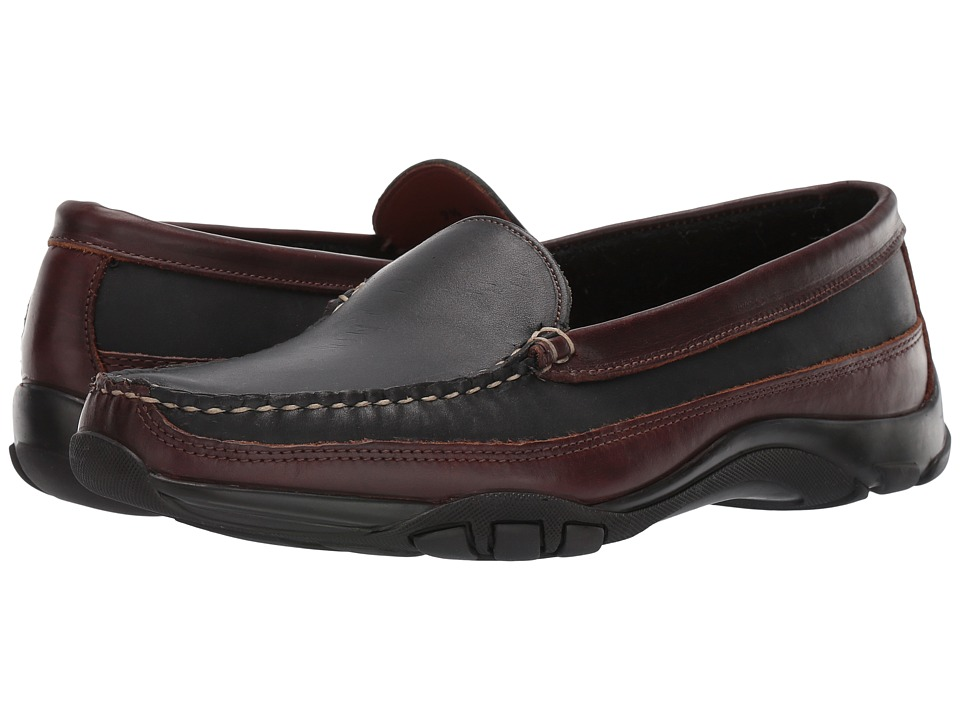 Allen Edmonds - Boulder (Black Saddle Leather/Brown Trim) Mens Slip on  Shoes