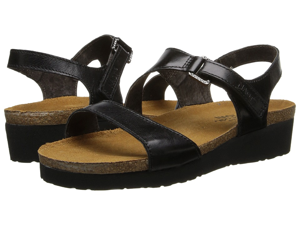 Naot Footwear Pamela Black Madras Leather Womens Sandals