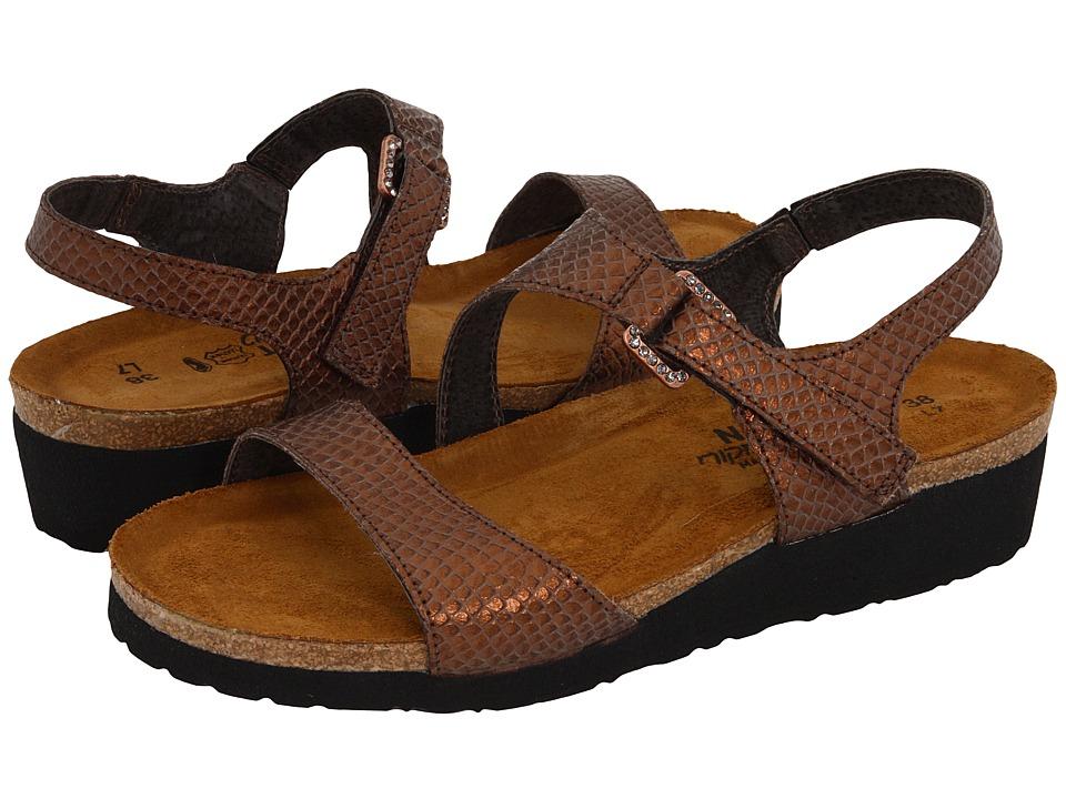 Naot Footwear Pamela (Brown Lizard Leather) Sandals