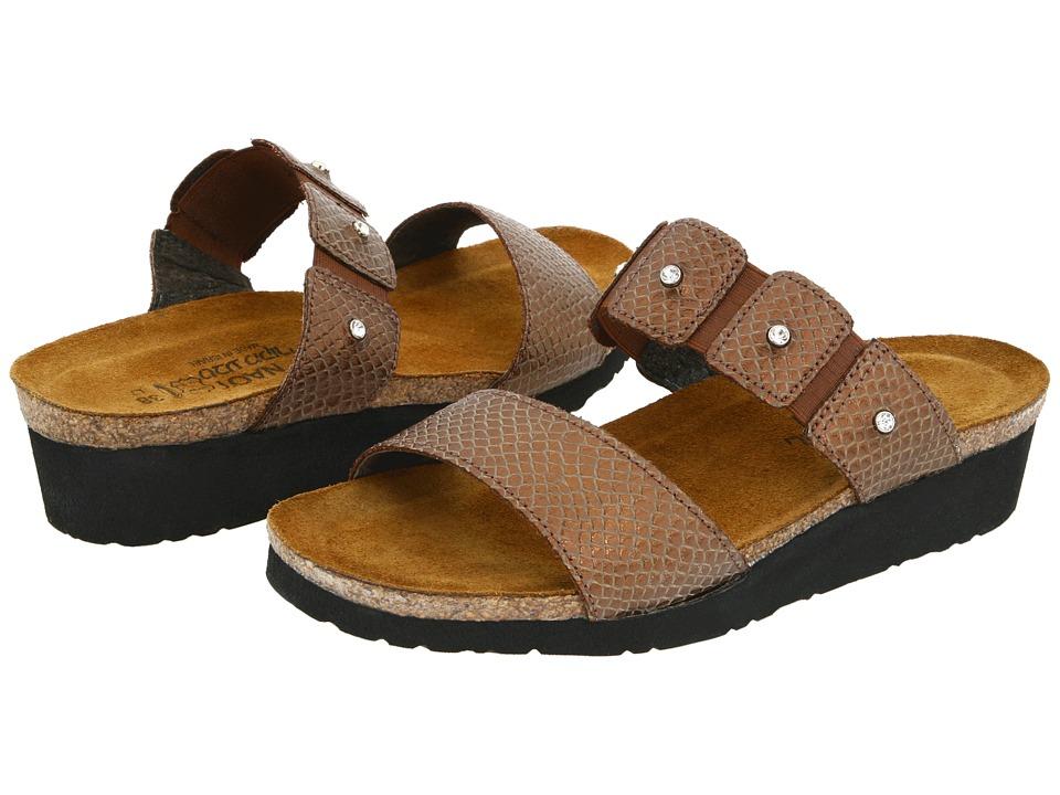 Naot Footwear Ashley Brown Lizard Leather Womens Sandals