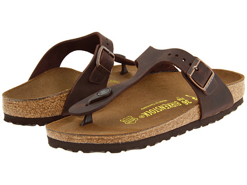 birkenstock gizeh oiled leather tobacco brown
