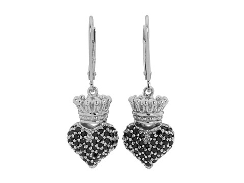 King Baby Studio Small 3D Pink CZ Crowned Heart Earrings
