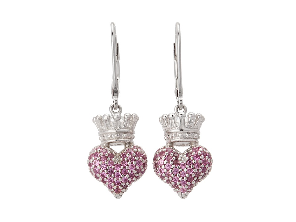 King Baby Studio - Small 3D Pink CZ Crowned Heart Earrings