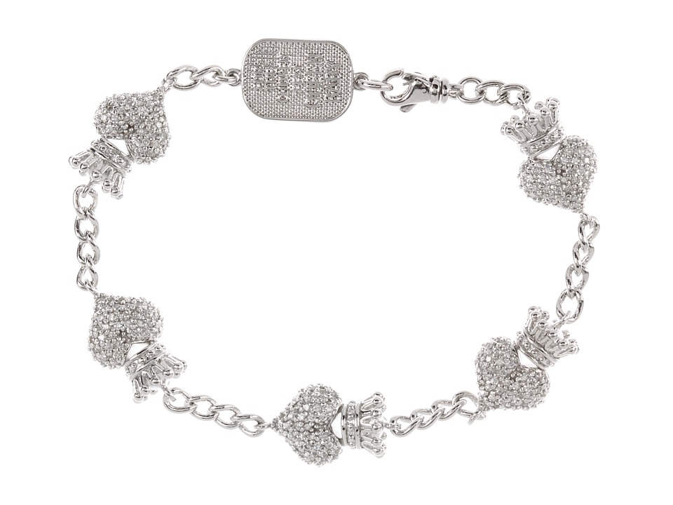 King Baby Studio - CZ Pave Crowned Heart Motif Bracelet