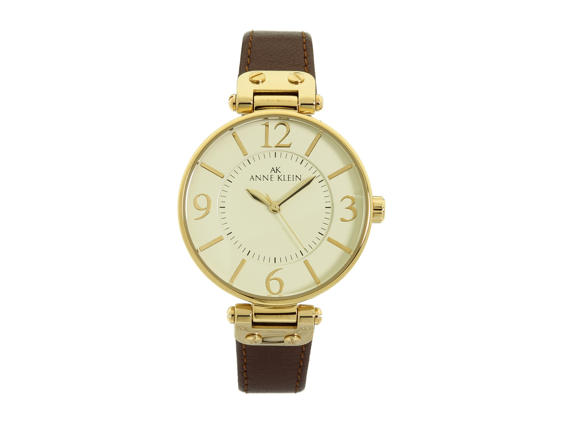 Anne klein 109168ivbn round dial leather strap watch free shipping both ways for Anne klein leather strap