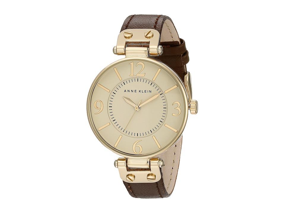 Anne Klein 109168IVBN Round Dial Leather Strap Watch Brown Analog Watches