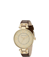 Anne Klein - 109168IVBN Round Dial Leather Strap Watch