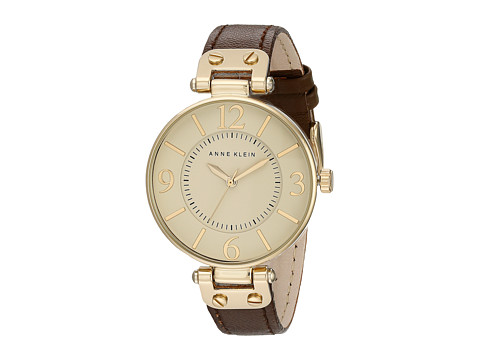 Anne Klein 109168IVBN Round Dial Leather Strap Watch - Brown