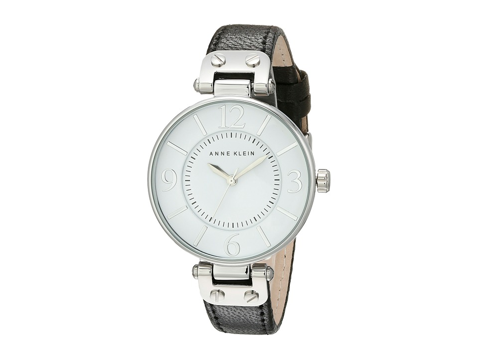 Image of Anne Klein - 109169WTBK Round Dial Leather Strap Watch (Black) Analog Watches