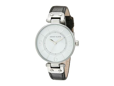 Anne Klein 109169WTBK Round Dial Leather Strap Watch - Black