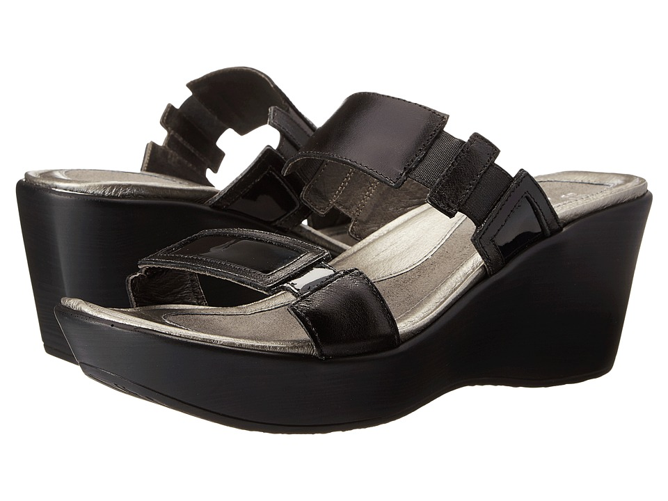 Naot Treasure (Black Madras Leather/Black Patent Leather) Wedges