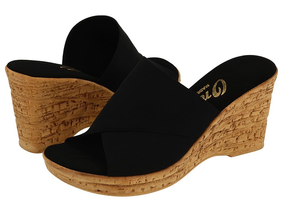 Onex Christina (Black Elastic) Wedge Shoes
