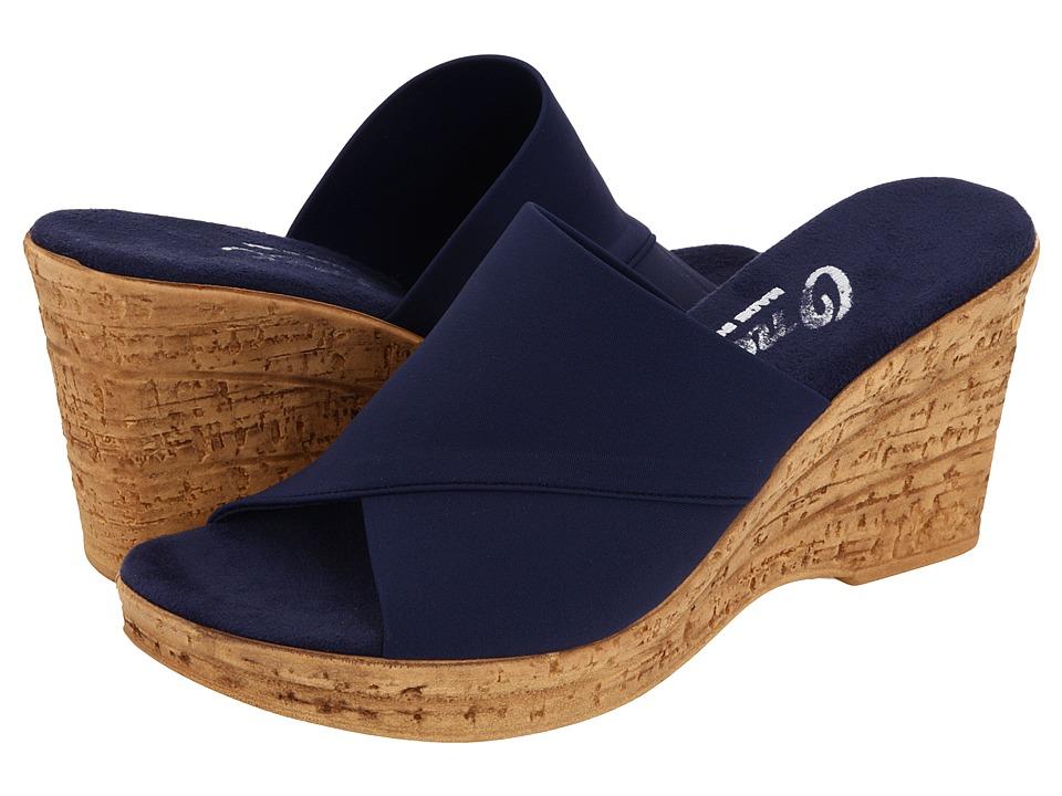 Onex Christina (Navy Elastic) Wedge Shoes