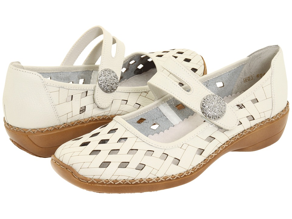 Rieker 41375 Doris 75 Sport White Leather Womens Maryjane Shoes