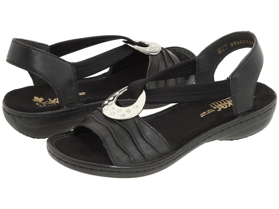 Rieker 60823 Regina 23 Black/Black Womens Sandals
