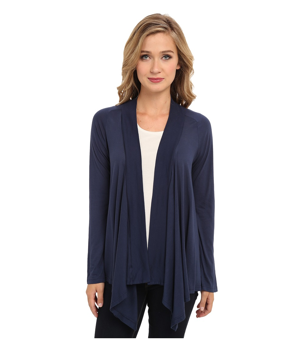 Splendid Very Light Jersey Drape Cardigan (Navy) Women