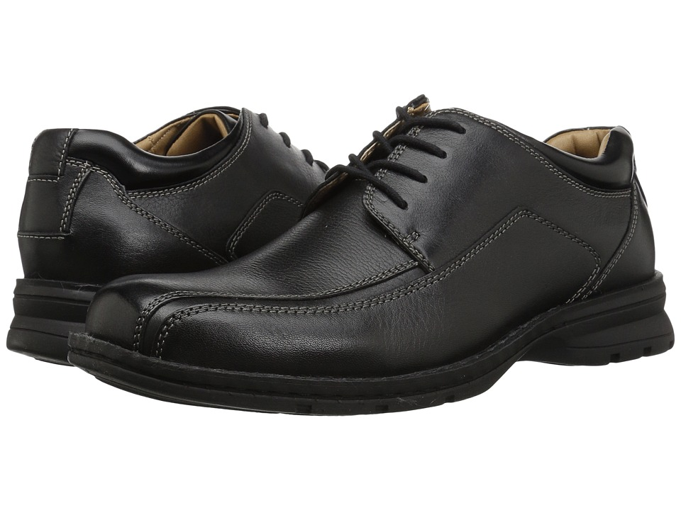 Dockers - Trustee Moc Toe Oxford (Black Tumbled Leather) Mens Lace-up Bicycle Toe Shoes