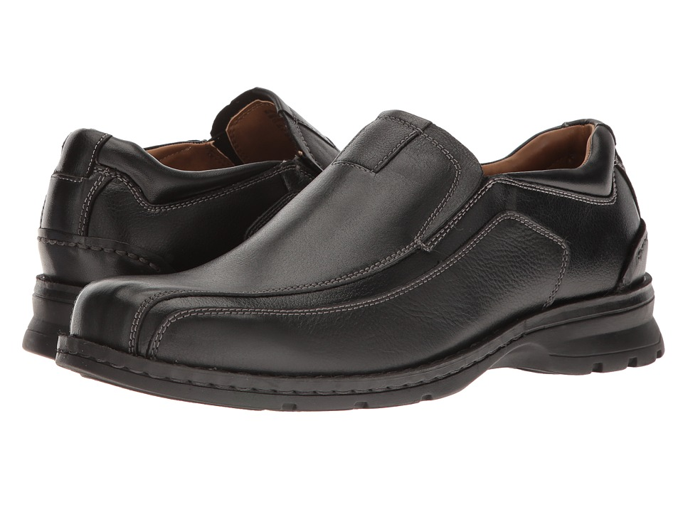 Dockers - Agent Bike Toe Slip On (Black Tumbled Leather) Mens  Shoes
