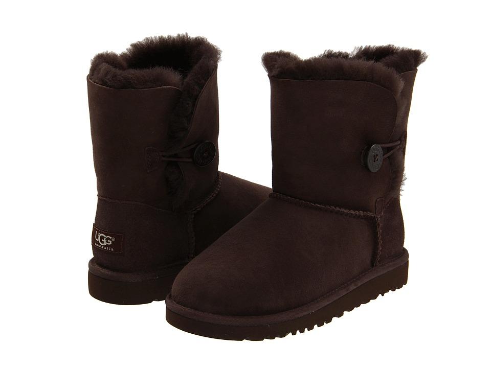 UGG Kids Bailey Button Little Kid/Big Kid Chocolate Girls Shoes