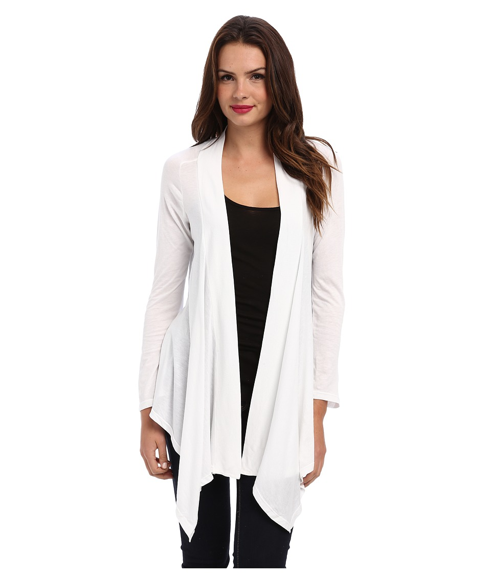 Splendid Very Light Jersey Drape Cardigan (White) Women