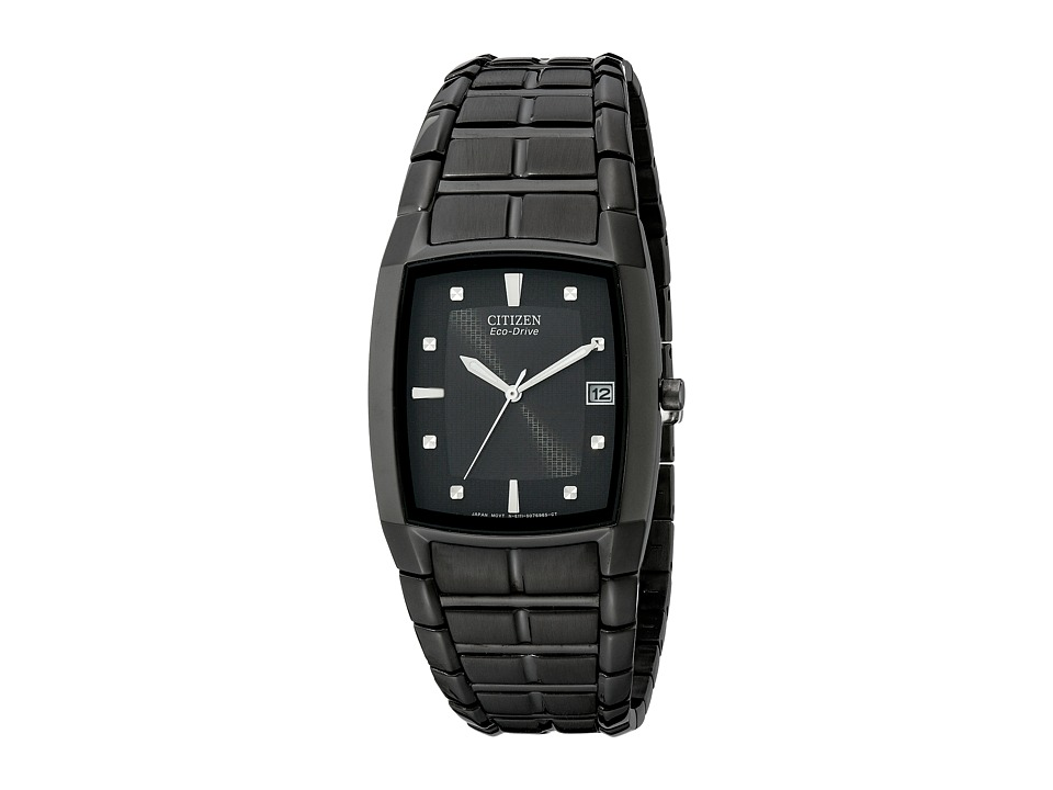 Citizen Watches BM6555 54E Eco Drive Ion Plated Stainless Steel Watch Black/Black Stainless Steel Dress Watches