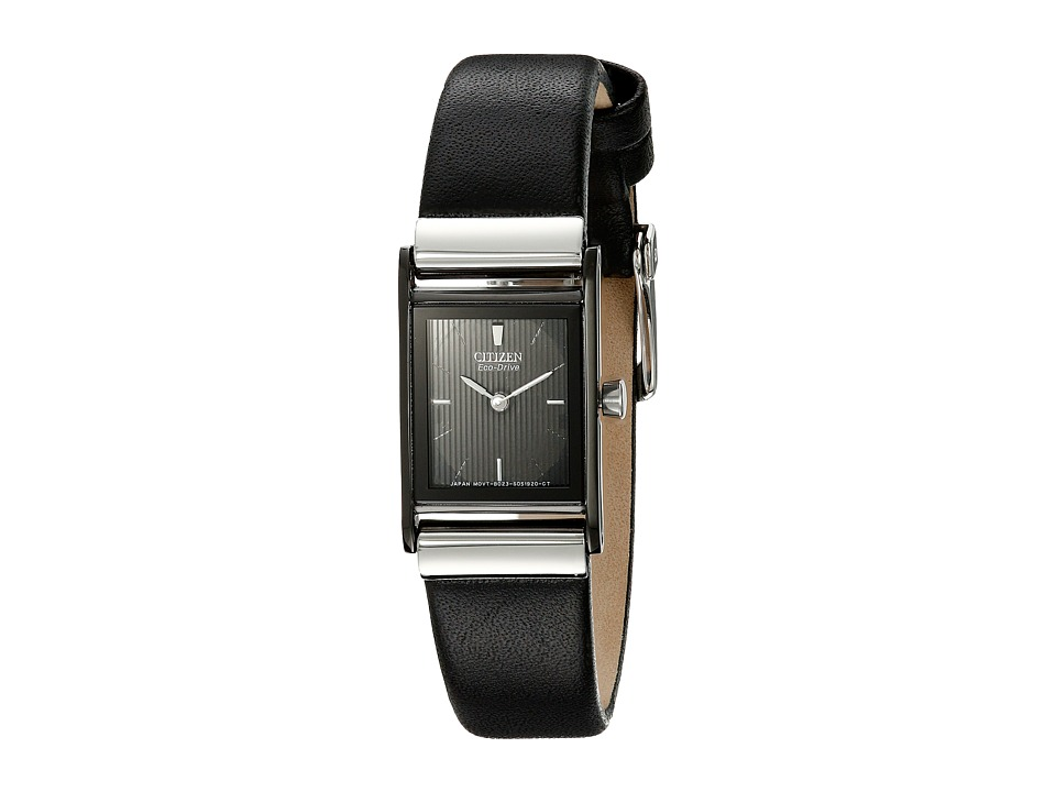 Citizen Watches EW9215 01E Eco Drive Stainless Steel Leather Strap Watch Black/Black Dress Watches