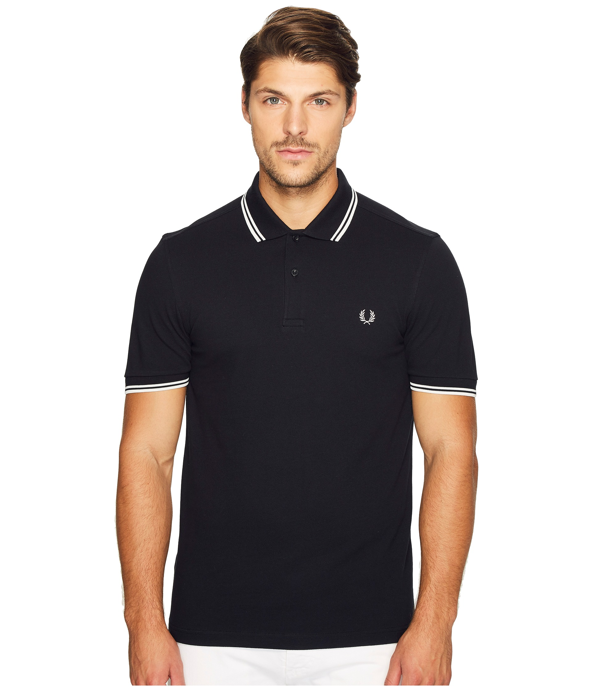 fred perry slim fit twin tipped fred perry polo black porcelain free shipping both ways. Black Bedroom Furniture Sets. Home Design Ideas