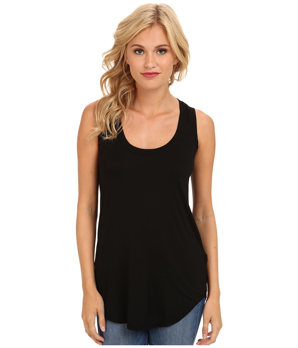 Three Dots - Lightweight Viscose Long Tank (Black) Womens Sleeveless