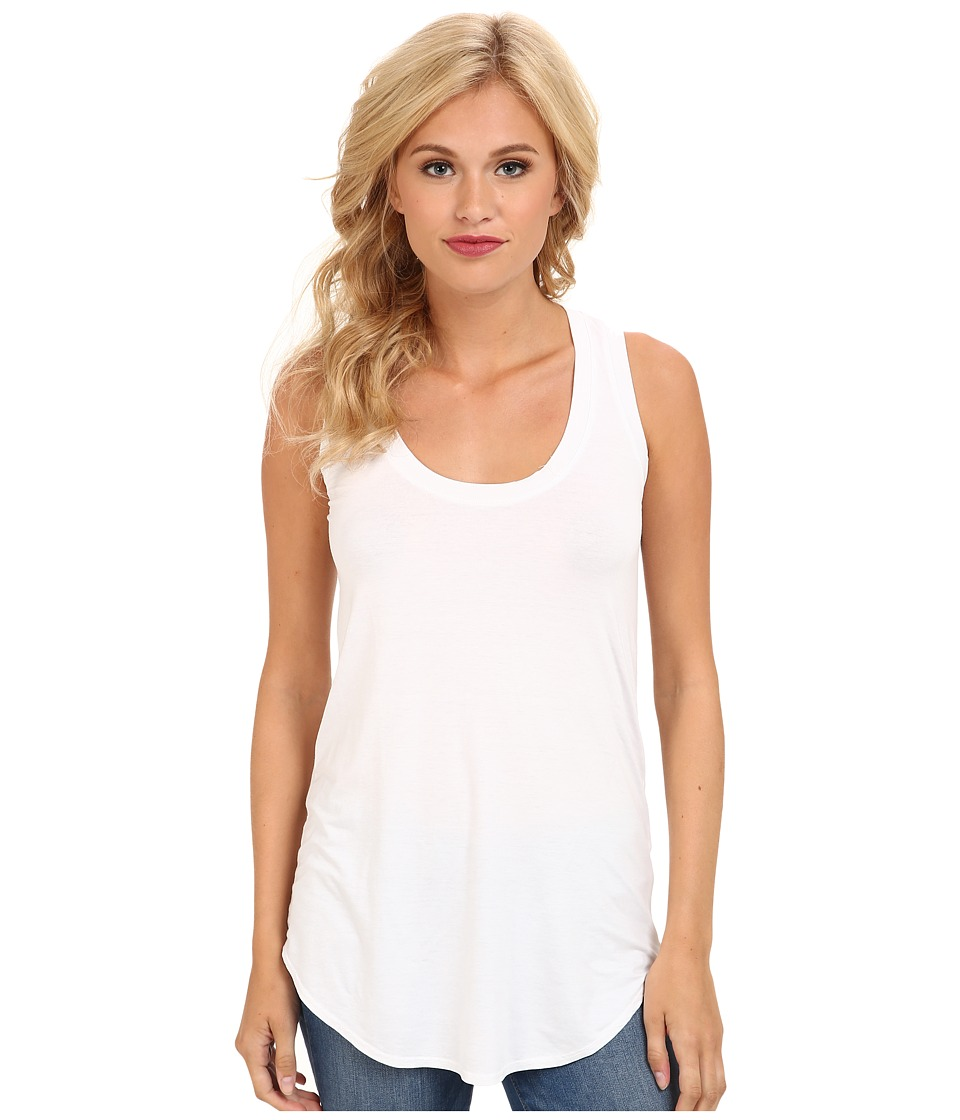 Three Dots Lightweight Viscose Long Tank (White) Women