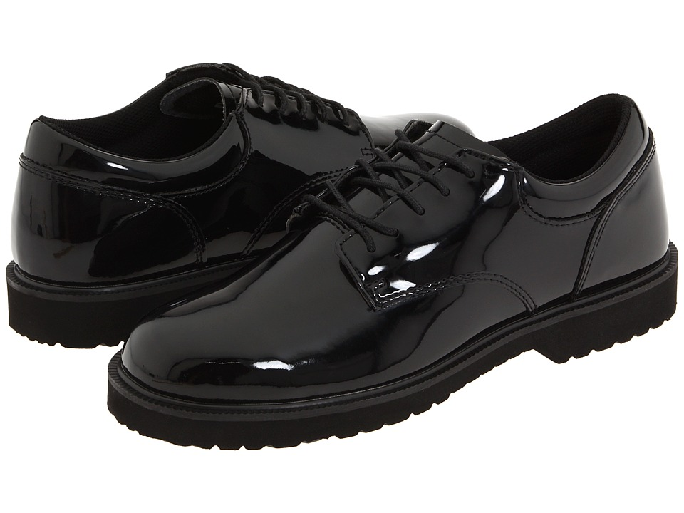 Bates Footwear High Gloss Uniform Oxford Black Mens Dress Flat Shoes